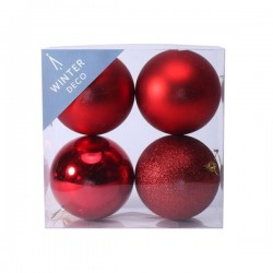 100mm Shatterproof Christmas Baubles Red Pack of 4 - X19062