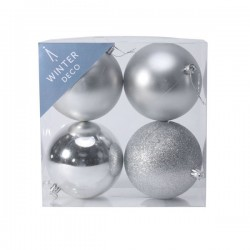 100mm Shatterproof Christmas Baubles Silver Pack of 4 - X19063