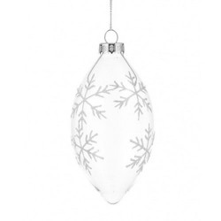 130mm Glass Finial Snowflake Christmas Baubles White - 17X063