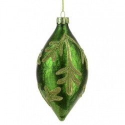 130mm Green Glass Finial Christmas Baubles with Leaves - 17X053