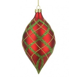 150mm Tashika Glass Christmas Baubles Red Green and Gold - 17X052