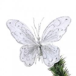 24cm Silver Velvet Butterfly - X058