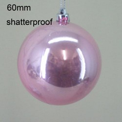 60mm Shatterproof Christmas Baubles Shiny Pink - 14X117
