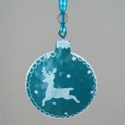 65mm Rustic Tinware Christmas Tree Decorations Dark Teal Blue Reindeer - 14X087