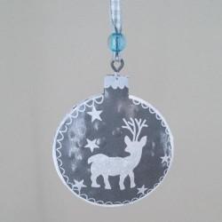 65mm Rustic Tinware Christmas Tree Decorations Grey Reindeer - 14X085