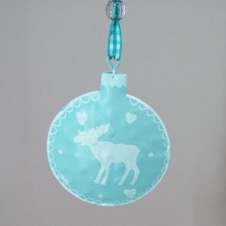 65mm Rustic Tinware Christmas Tree Decorations Light Teal Blue Reindeer - 14X086