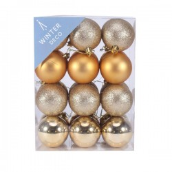 60mm Shatterproof Christmas Baubles Gold Pack of 24 - X19051