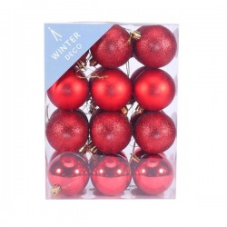 60mm Shatterproof Christmas Baubles Red Pack of 24 - X19052