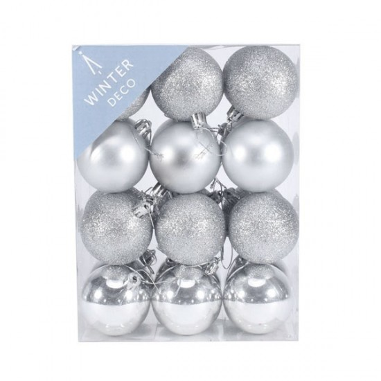60mm Shatterproof Christmas Baubles Silver Pack of 24 - X19053