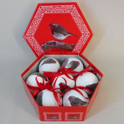 70mm Red Robin Christmas Baubles Boxed Set of 7 - 17X086