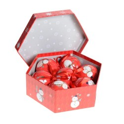 70mm Red Snowman Christmas Baubles Boxed Set of 7 - 14X083