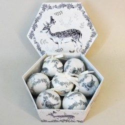 70mm Robin and Stag Christmas Baubles Boxed Set of 7 - 17X085