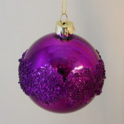 80mm Glass Christmas Baubles Xenia Magenta SECONDS - X20028