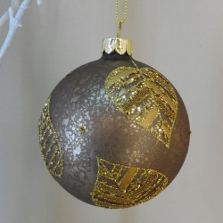 80mm Brown Glass Christmas Baubles with Gold Leaves - 17X060