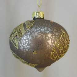 80mm Brown Glass Onion Christmas Baubles with Gold Leaves - 17X061