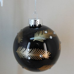 80mm Glass Christmas Baubles Black and Gold Feathers - 17X046