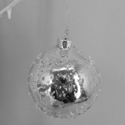 80mm Glass Christmas Baubles Silver Sparkle - 17X193