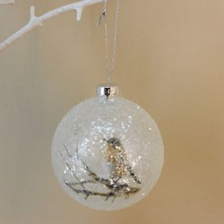80mm Christmas Baubles Robin on Branch - 17X021