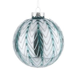 80mm Glass Christmas Baubles Teal Zigzag - 14X055