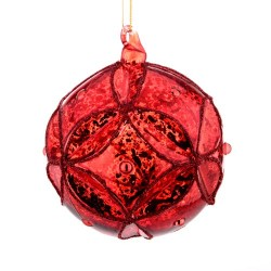 80mm Glass Christmas Baubles Antique Red - 14X078