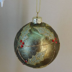 80mm Glass Christmas Baubles Green Holly - 17X192
