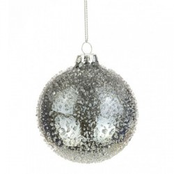 80mm Glass Christmas Baubles Pewter Iridescent - 17X035