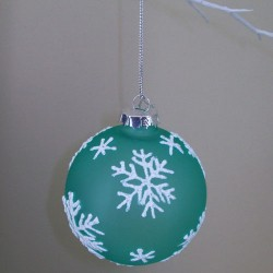 80mm Glass Christmas Baubles Teal Snowflakes - 15X038