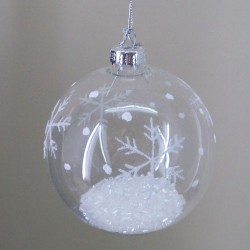 80mm Glass Christmas Baubles White Snowflakes - 15X037