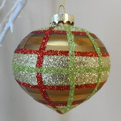80mm Glass Onion Christmas Baubles Gold Green and Red - 17X067