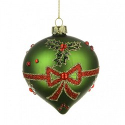 80mm Glass Onion Christmas Baubles Green Holly - 17X050