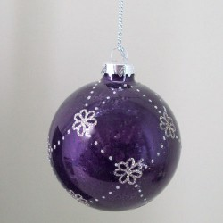 80mm Glass Christmas Baubles Rose Purple Glitter - 15X034
