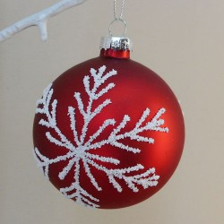 80mm Red Glass Christmas Baubles with White Snowflakes - 17X174