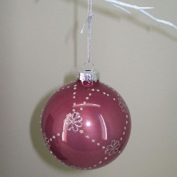 80mm Glass Christmas Baubles Rose Pink Silver Glitter - 15X033