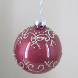 80mm Glass Christmas Baubles Rose Pink Silver Swirls - 15X035