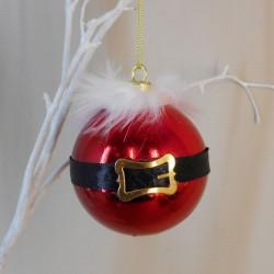 80mm Shatterproof Christmas Baubles Red Santa Belt - X20001
