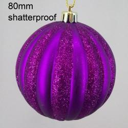 80mm Shatterproof Christmas Baubles Purple Stripes - 14X064