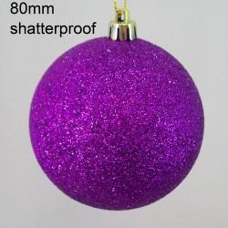80mm Shatterproof Christmas Baubles Purple Glitter - 14X065