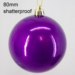 80mm Shatterproof Christmas Baubles Shiny Purple - 14X063