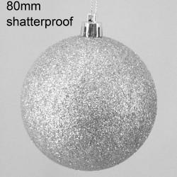 80mm Shatterproof Christmas Baubles Silver Glitter - 14X081