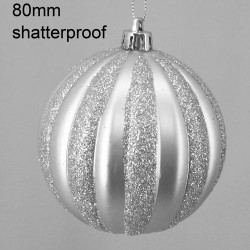 80mm Shatterproof Christmas Baubles Silver Stripes - 14X080
