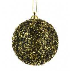 80mm Shatterproof Christmas Baubles Black and Gold Bugle Beads - 17X168