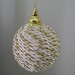 80mm Shatterproof Christmas Baubles Champagne Gold Rope - 15X041