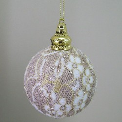 80mm Shatterproof Christmas Baubles Gold Lace - 15X040
