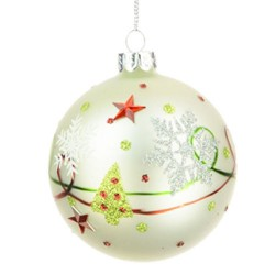 80mm Traditional Glass Christmas Baubles White Red Green - 17X056