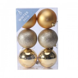 80mm Shatterproof Christmas Baubles Gold Pack of 6 - X19056