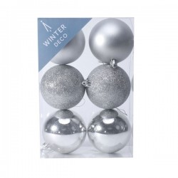 80mm Shatterproof Christmas Baubles Silver Pack of 6 - X19058