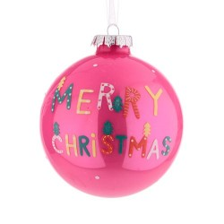 90mm Glass Christmas Baubles Pink Merry Christmas - 14X062
