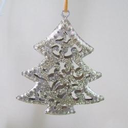 9cm Gold Glitter Filigree Christmas Tree Decoration - 14X095