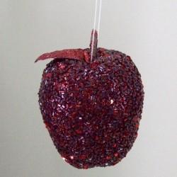Burgundy Glitter Apple Shatterproof Christmas Baubles  - 15X084