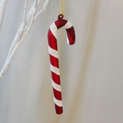 Candy Cane Glass Christmas Baubles Red and White - 17X191
